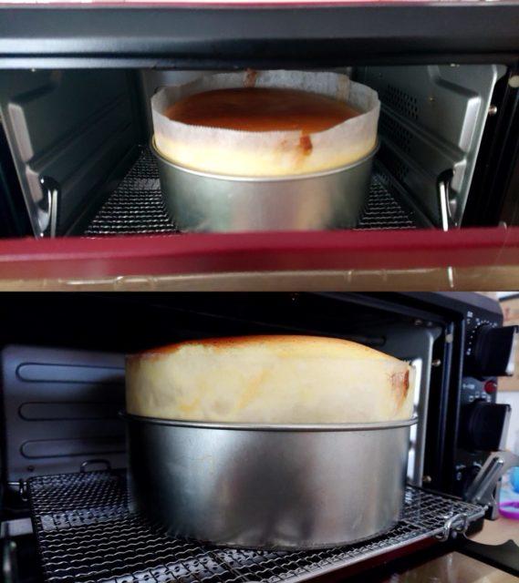 オーブンでチーズケーキを焼いている様子