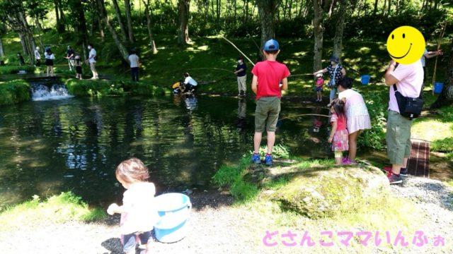 さいとう釣堀園のニジマス釣りの様子