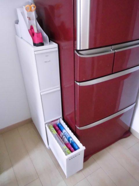 ゴミ袋ケースの収納場所は冷蔵庫横の引き出し