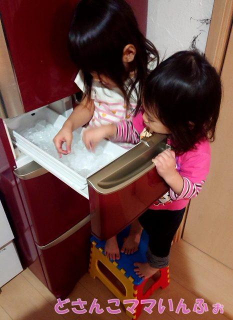 冷蔵庫の製氷機から氷を食べる子供たち