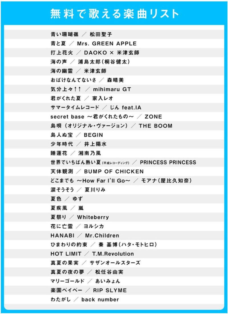 スイッチカラオケ無料2021年7月の夏うた大集合曲目リスト
