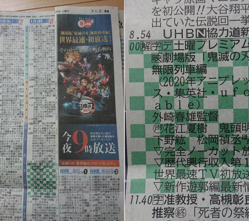 鬼滅の刃無限列車編放送日の新聞のテレビ欄